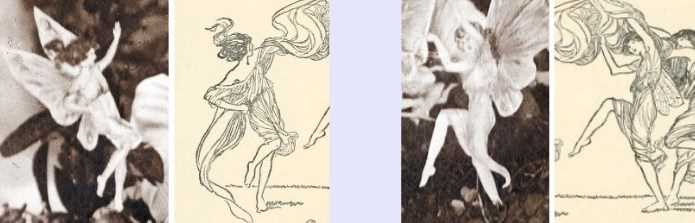 Comparison between Shepperson illustration and Cottingley Fairy Photo A